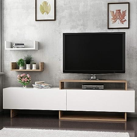 Homemania Mueble para TV Zera, Madera, Nogal-Blanco, 180 x 30 x 48 ...