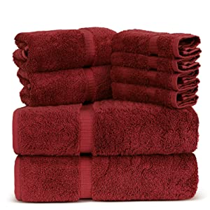 Towel Bazaar Luxury Hotel and Spa Quality 100% Premium Turkish Cotton 8 Pieces Eco-Friendly Kitchen and Bathroom Towel Set (2 x Bath Towels, 2 x Hand Towels, 4 x Wash Cloths, Cranberry)