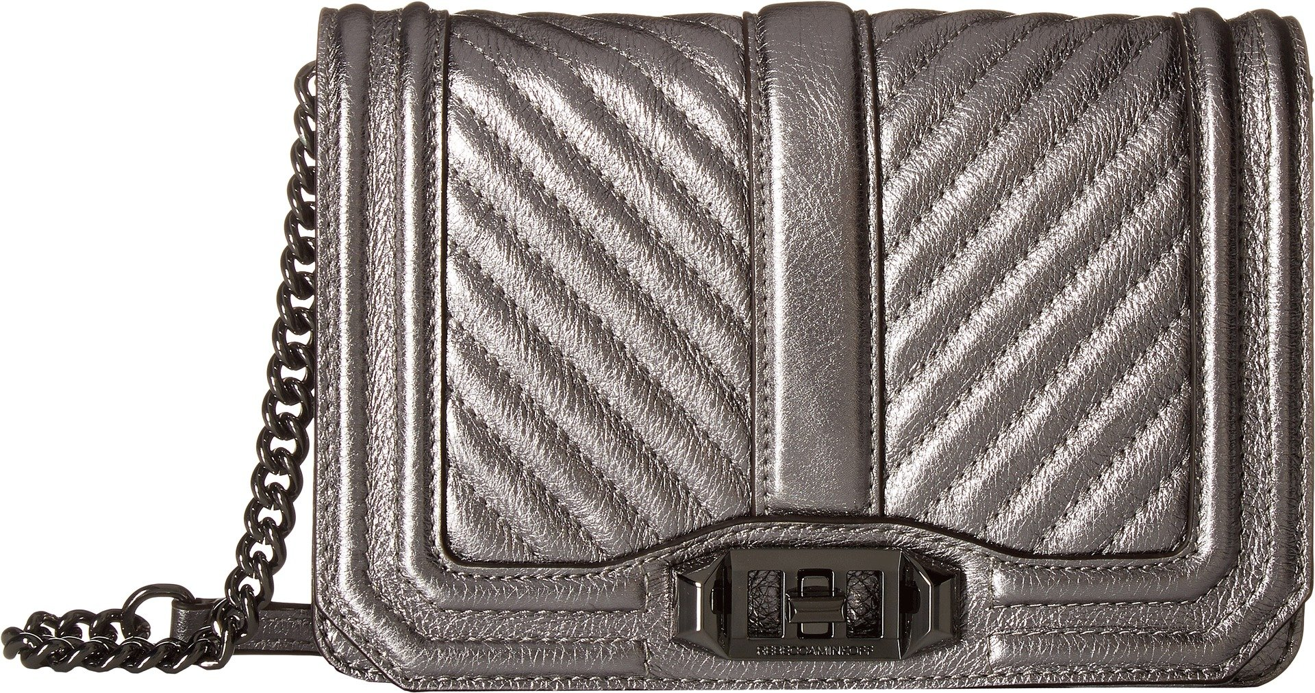 Rebecca Minkoff Women's Chevron Quilted Small Love Crossbody Anthracite One Size