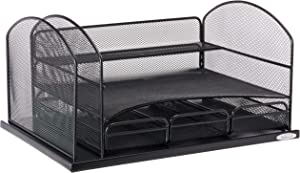 Safco Products 3252BL Onyx Mesh Desktop Organizer with 3 Drawers, Black