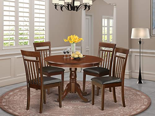 HLCA5-MAH-LC 5 Pc set with a Round Table and 4 Leather Dinette Chairs in Mahogany