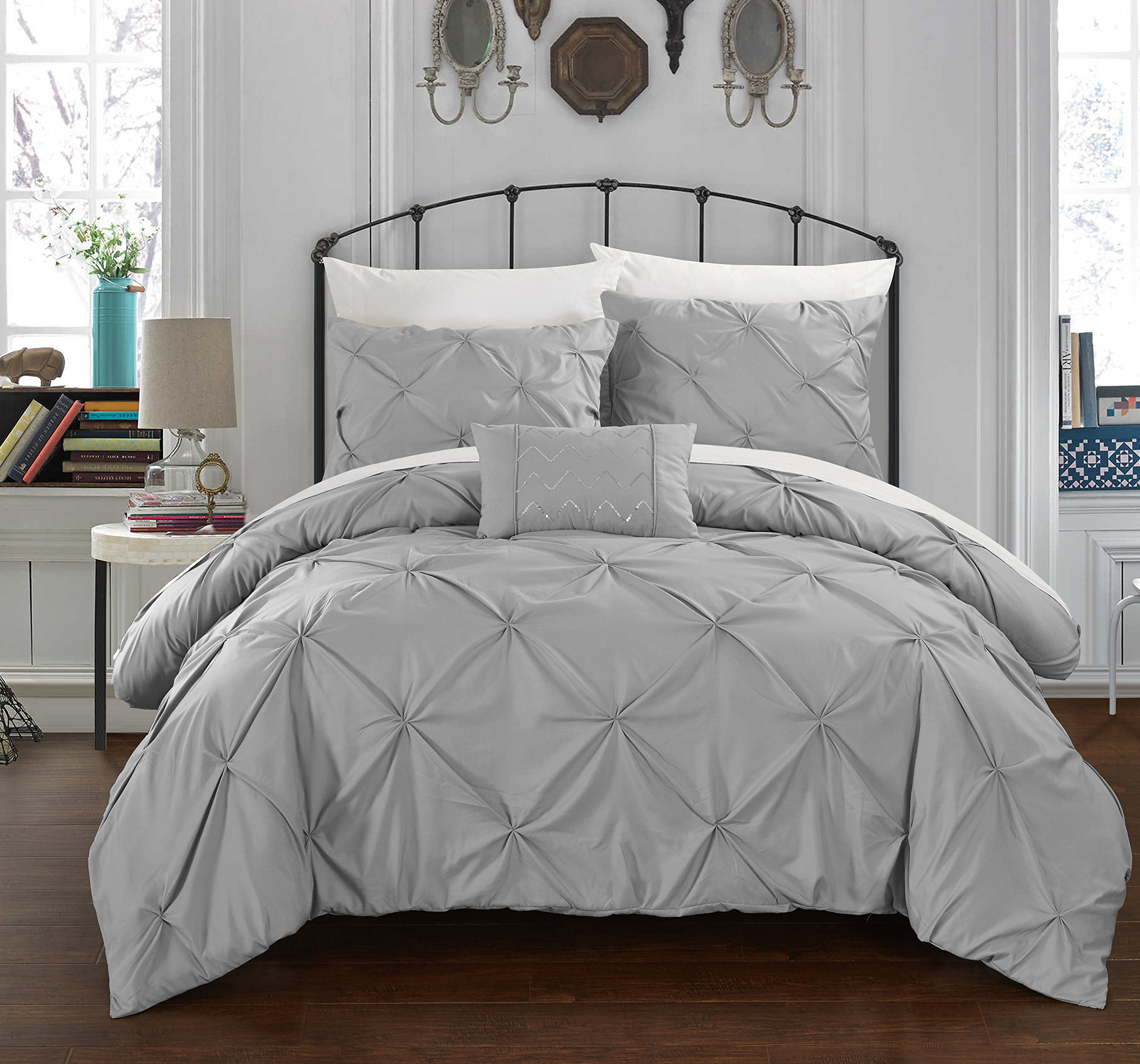 Chic Home 3 Piece Daya Pinch Pleated, Ruffled & Pleated Complete Duvet Cover Set Shams & Decorative Pillows Included, Twin, Silver