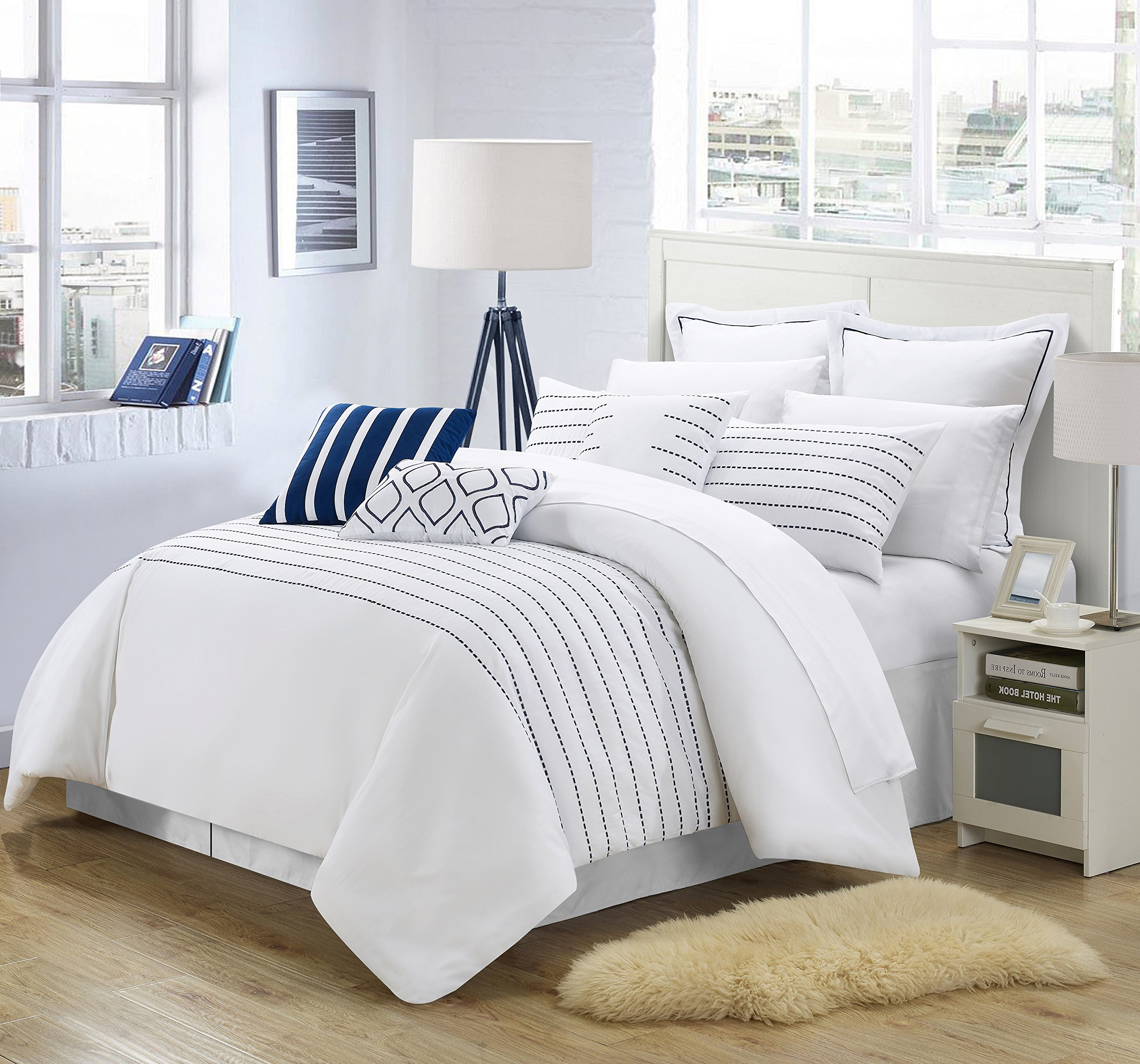 Perfect Home 9 Piece Paddington Super Rich Microfiber Stitch Embroidered King Comforter Set White