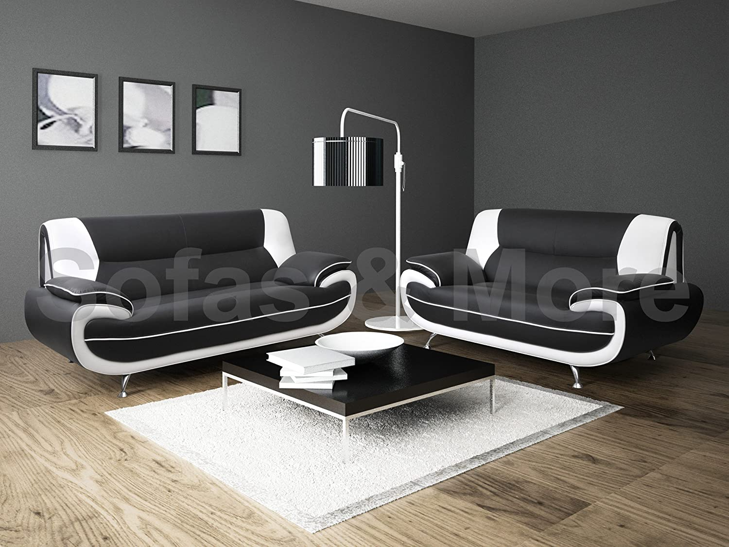 Lewis Black White Pu Leather Seater Sofa Suite Amazoncouk : black and white sectionals - Sectionals, Sofas & Couches