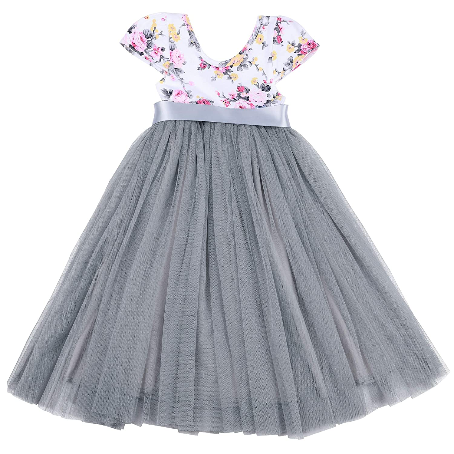 f3851157b147 Amazon.com: Flofallzique Easter Girls Dress Baby Tutu Tulle Floral Vintage  Princess Dress for 1-12 Years Old: Clothing