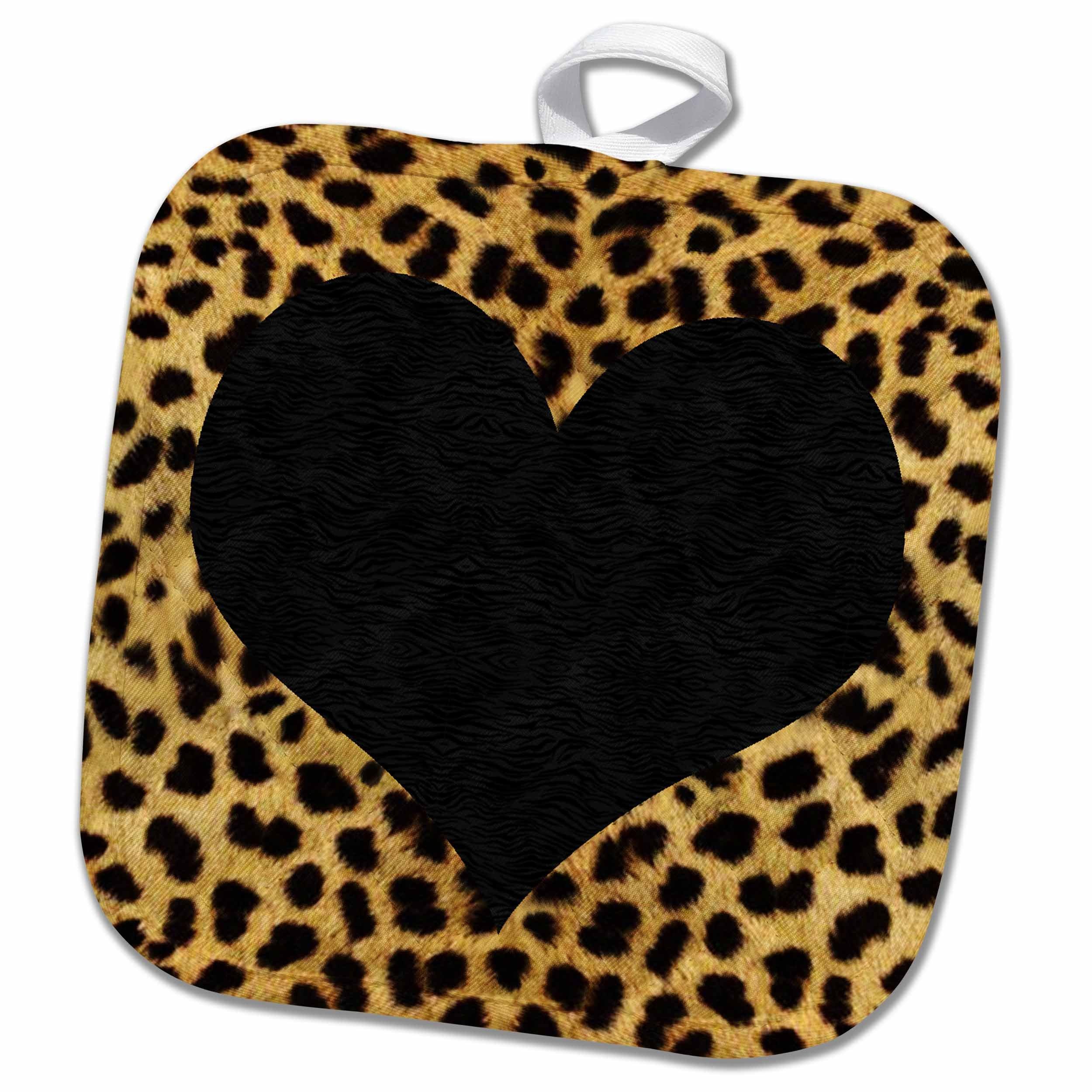 3dRose Punk Rockabilly Cheetah Animal Print Black Heart Potholders, 8'' x 8'', White