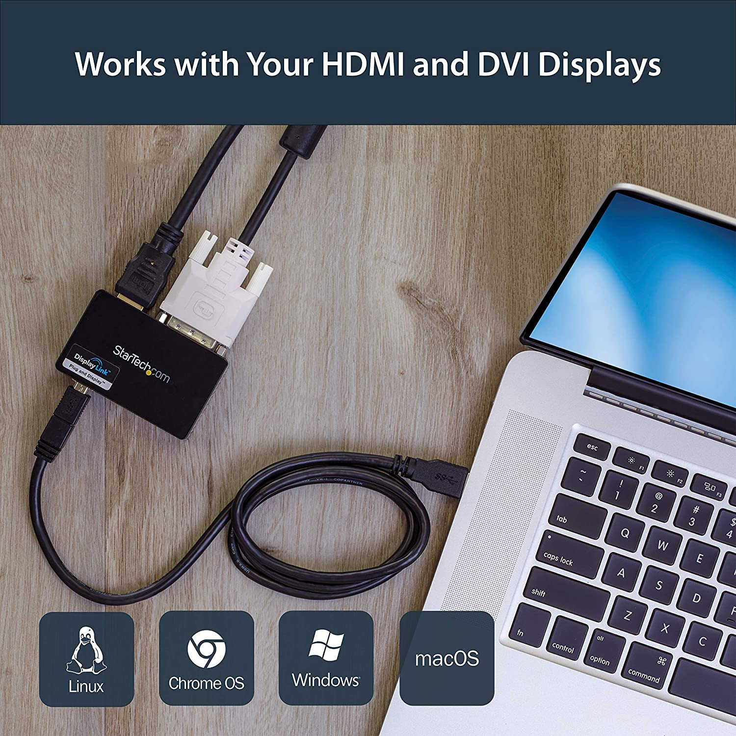 Black USB32HDEH StarTech.com USB 3.0 to HDMI /& DVI Adapter with 1x USB Port External Video /& Graphics Card Adapter Dual Monitor Hub Supports Windows