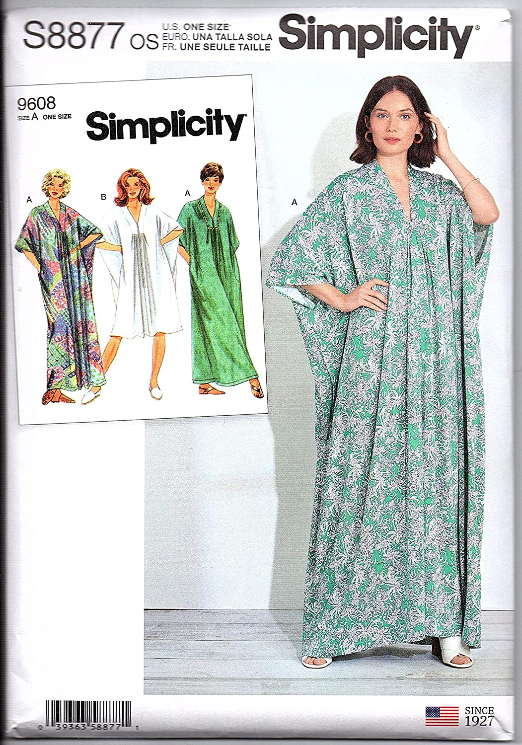Use to Make One Size Fits XS to XL Misses Caftan in Two Lengths Simplicity Sewing Pattern S8877