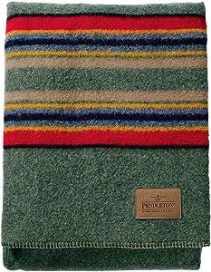 Pendleton Yakima Camp Thick Warm Wool Indoor Outdoor Striped Throw Blanket, Green Heather, Queen Size
