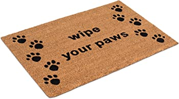 BirdRock Home Wipe Your Paws Coir Doormat - 24 x 36 Inch - Oversized Welcome Mat with Black Paw Prints and Natural Fade - Vinyl Backed - Outdoor