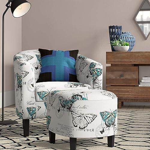 BELLEZE Modern Upholstered Barrel Accent Chair Armrest