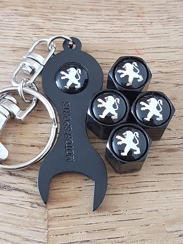Bouchons de protection Valve PEUGEOT noir jante noire supérieure syndicat clé porte-clés d'US seulement 108 208 2008 308 3008 508 5008 RCZ ION TEPEE Capuchon de valve