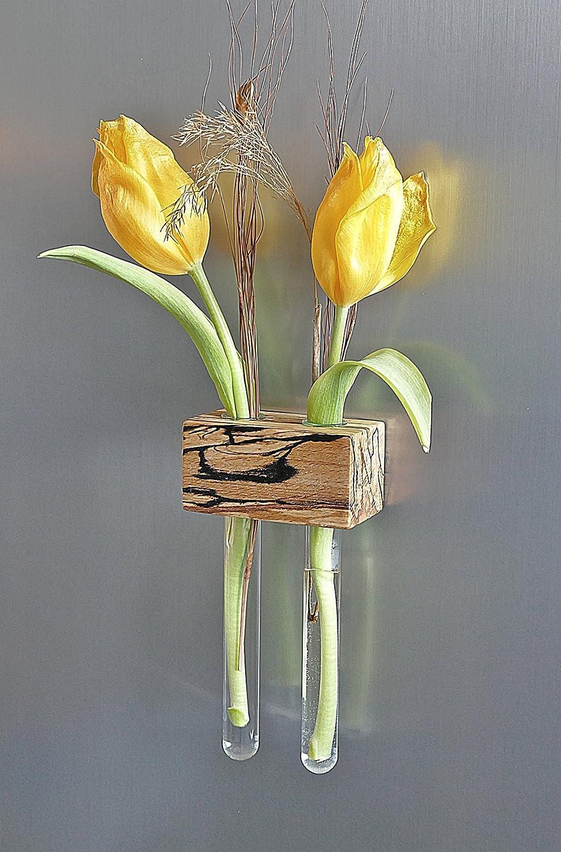 Magnetvase 2er Buche gestockt Blumenvase Magnethalter Magnet *