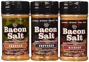Bacon Flavored Salt Sampler 3 Pack - Cheddar, Peppered & Hickory