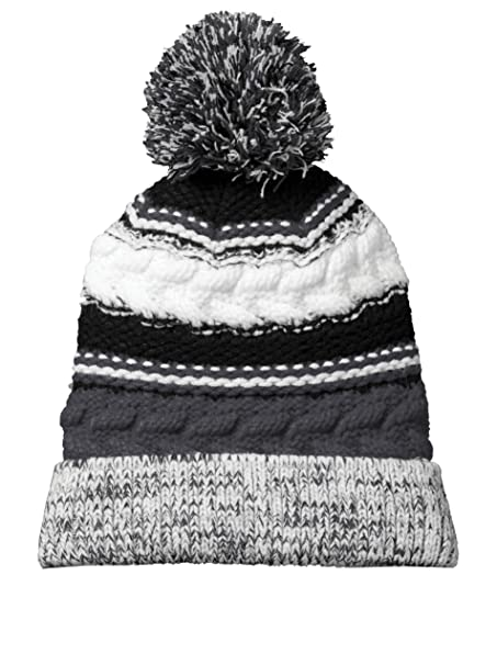 1de90cc231f Dri-Wick Cable Knit Winter Pom Pom Beanie Hat in Team Colors (Iron  Grey Black whiteiron Grey Black White) at Amazon Women s Clothing store
