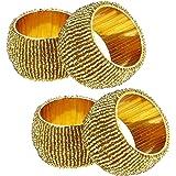 jeu de 4 - ronds de serviette d'or pour les dîners parties - indien perlés à la main serviette anneaux - dia 6.4 cm
