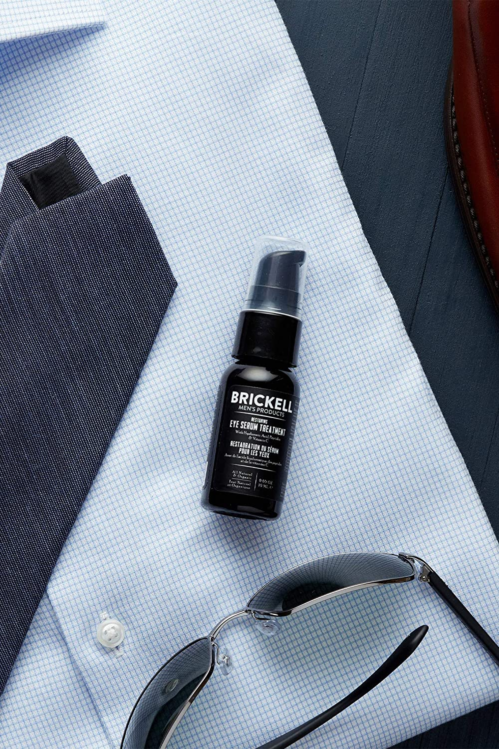 Brickell Men's Restoring Eye Serum Treatment for Men, Natural and Organic Eye Serum to Firm Wrinkles, Reduce Dark Circles, and Promote Youthful Skin, 0.65 Ounce, Unscented: Beauty