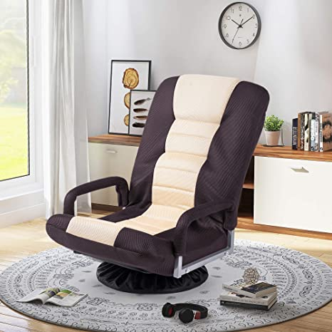Meritline Swivel Video Rocker Gaming Chair Adjustable 7 Position Floor Chair Folding Sofa Lounger Brown Beige Kitchen Dining