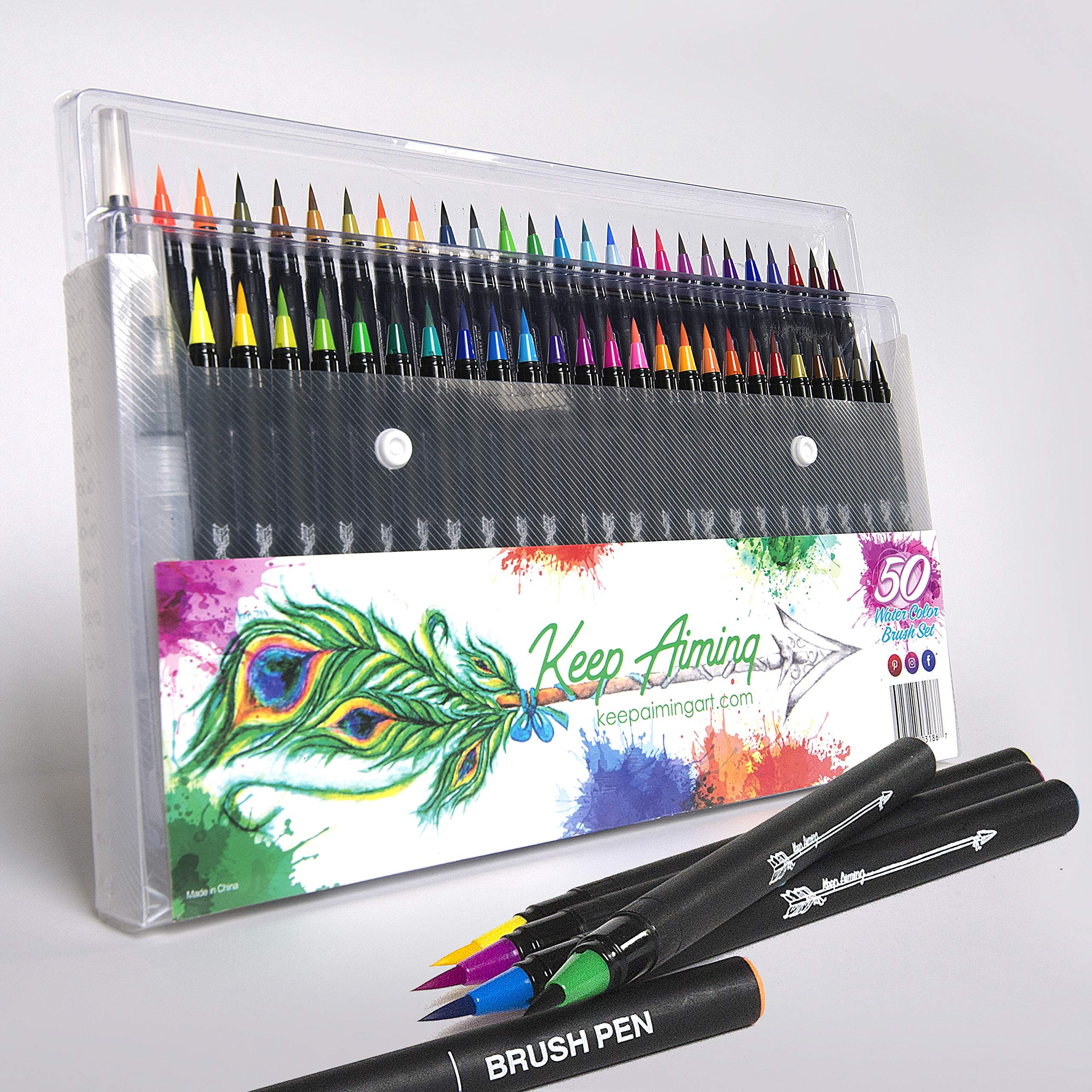 50 Premium Watercolor Brush Pens - Best Art Supplies & Paint Brushes/Markers for Adult Coloring Books & Arts and Crafts for Girls - Calligraphy Pen & Blending Brushes for Artists, Adults & Kids by Keep Aiming