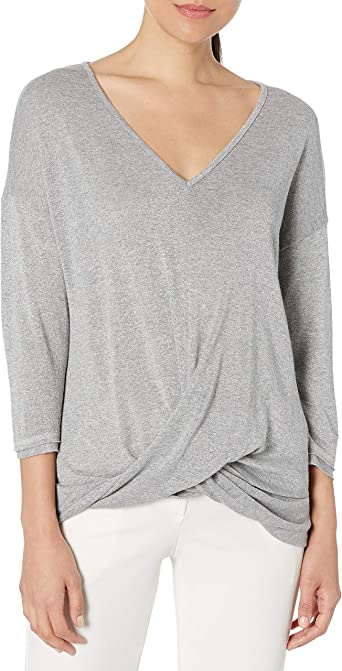 Three Dots Womens Sparkle Sweater Loose Mid Shirt