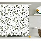 Ambesonne House Decor Collection, Flower Buds Blooms Branches Leaves Swirl Springtime Flourish Curl Doodle Image, Polyester Fabric Bathroom Shower Curtain, 75 Inches Long, Green Black White