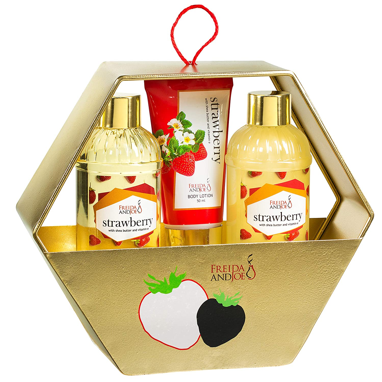Bath and Body Basket Set For Women: Relaxing At Home Spa Kit Strawberry Holiday Kit in Gold Metal Hexagon Box Includes Shower Gel, Bubble Bath, Body Lotion