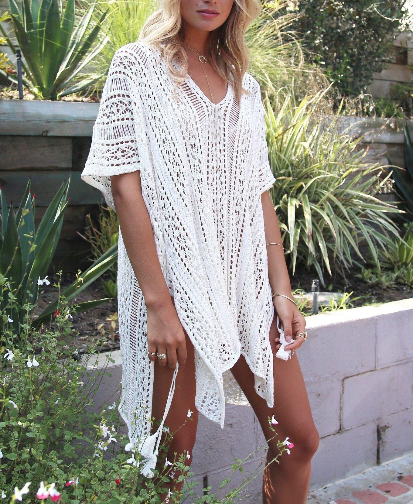 Jeasona Women's Bathing Suit Cover up Beach Bikini Swimsuit Swimwear Crochet Dress (Off White, L) by Jeasona (Image #3)