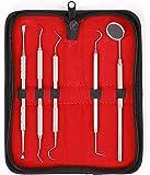 5er Dental Set Zahnreinigung Sonde Zahnpflege Edelstahl Instrument Zahnkratzer hochwertige Profiqualität von MedTekCo lebenslange Garantie