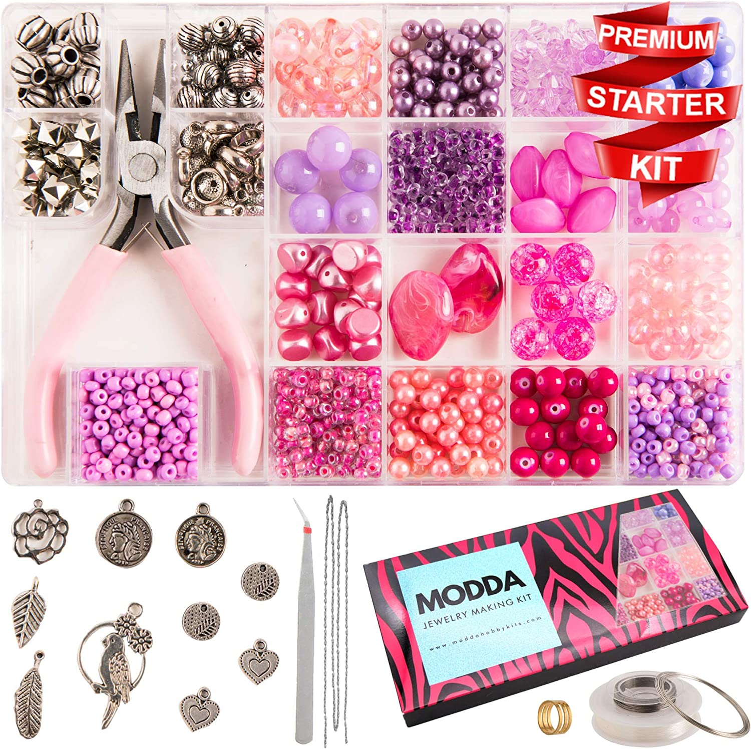 Modda Jewelry Making Supplies - Jewelry Making Kits for Adults, Teens, Girls, Beginners, Women - Includes Instructions, Tools, Beads, Charms for Necklace, Earring, Bracelet Making Kit - Pink Set
