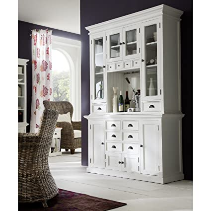 HALIFAX White Mahogany Hutch Buffet With Glass Door Cabinets In White  Distressed Finish