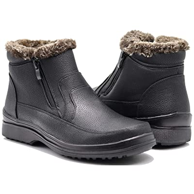 Enzo Romeo RU2N Men's Winter Cold Weather Snow Boots with Fur Fleece Lining Slip On Shoes | Snow Boots