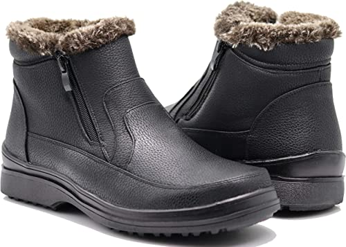 Enzo Romeo RU2N Mens Winter Cold Weather Snow Boots with Fur Fleece Lining Slip On Shoes