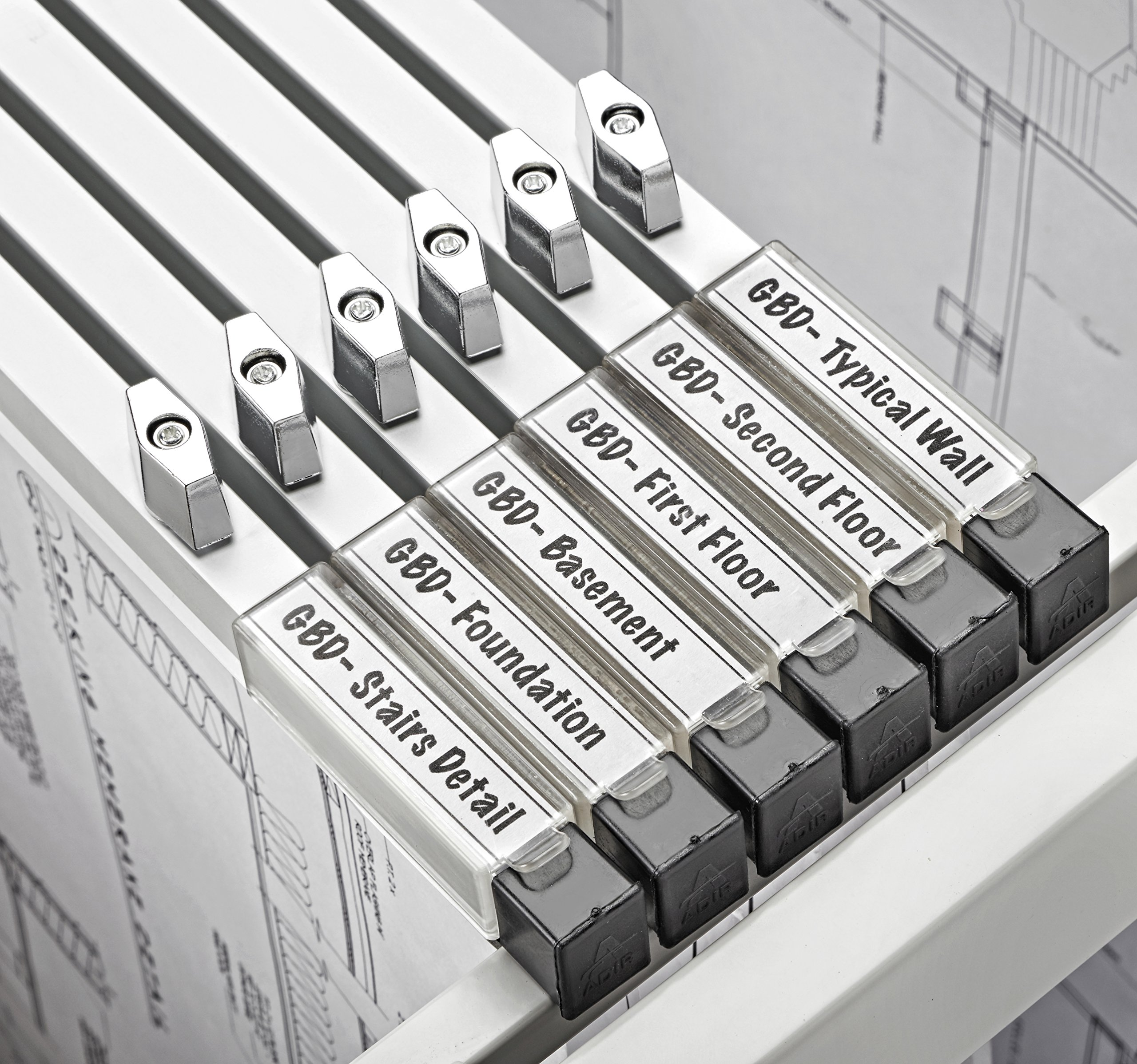 AdirOffice 30'' Blueprint File Hanging Clamps - Grey (Set of 6) by Adir Corp. (Image #2)