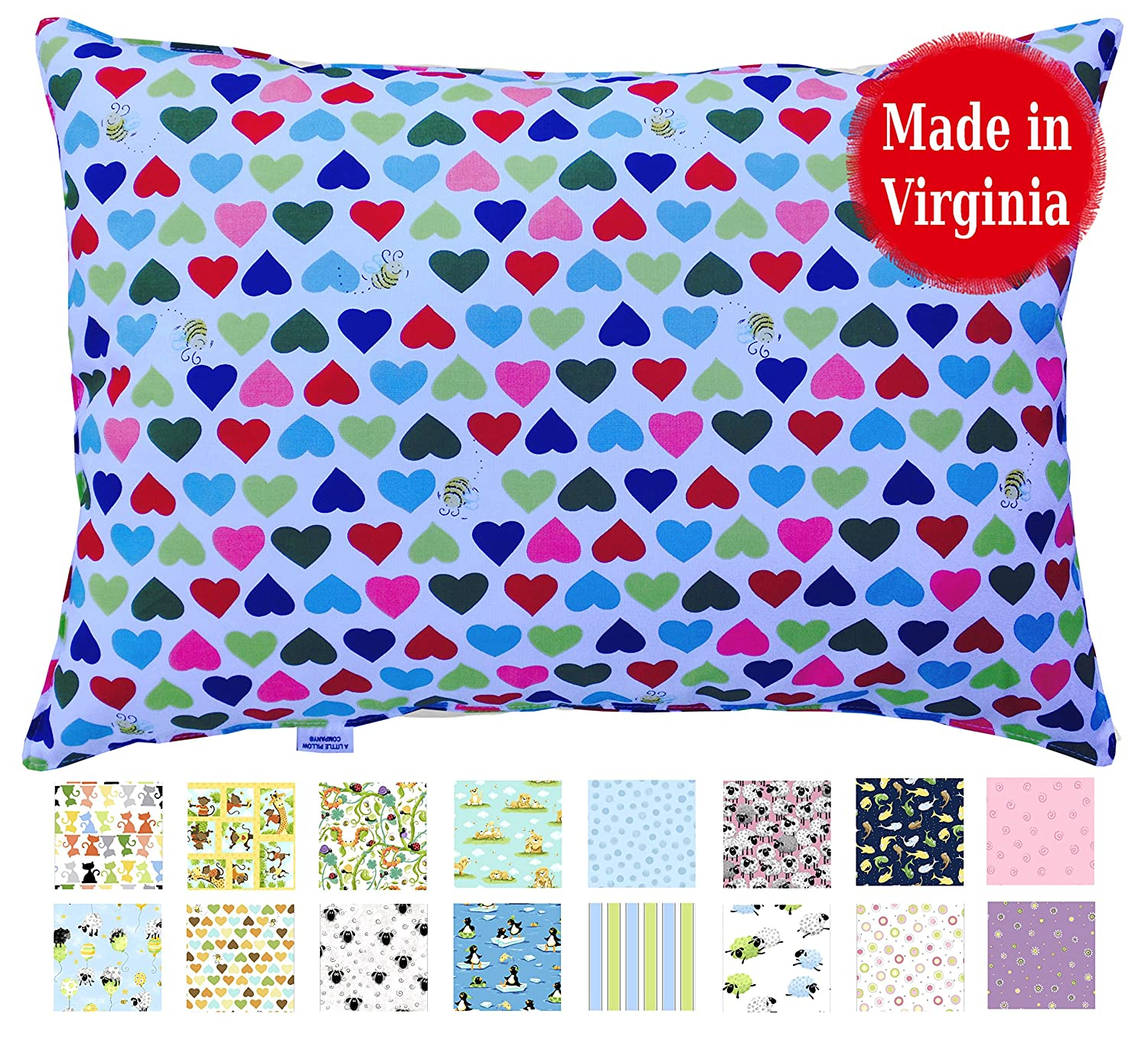Toddler Pillow (Counting Sheep) - 13 x 18 - Hypoallergenic - Machine Washable - Double Stitched for Extra Strength - Made in Virginia by A Little Pillow Company TP-CNTSH
