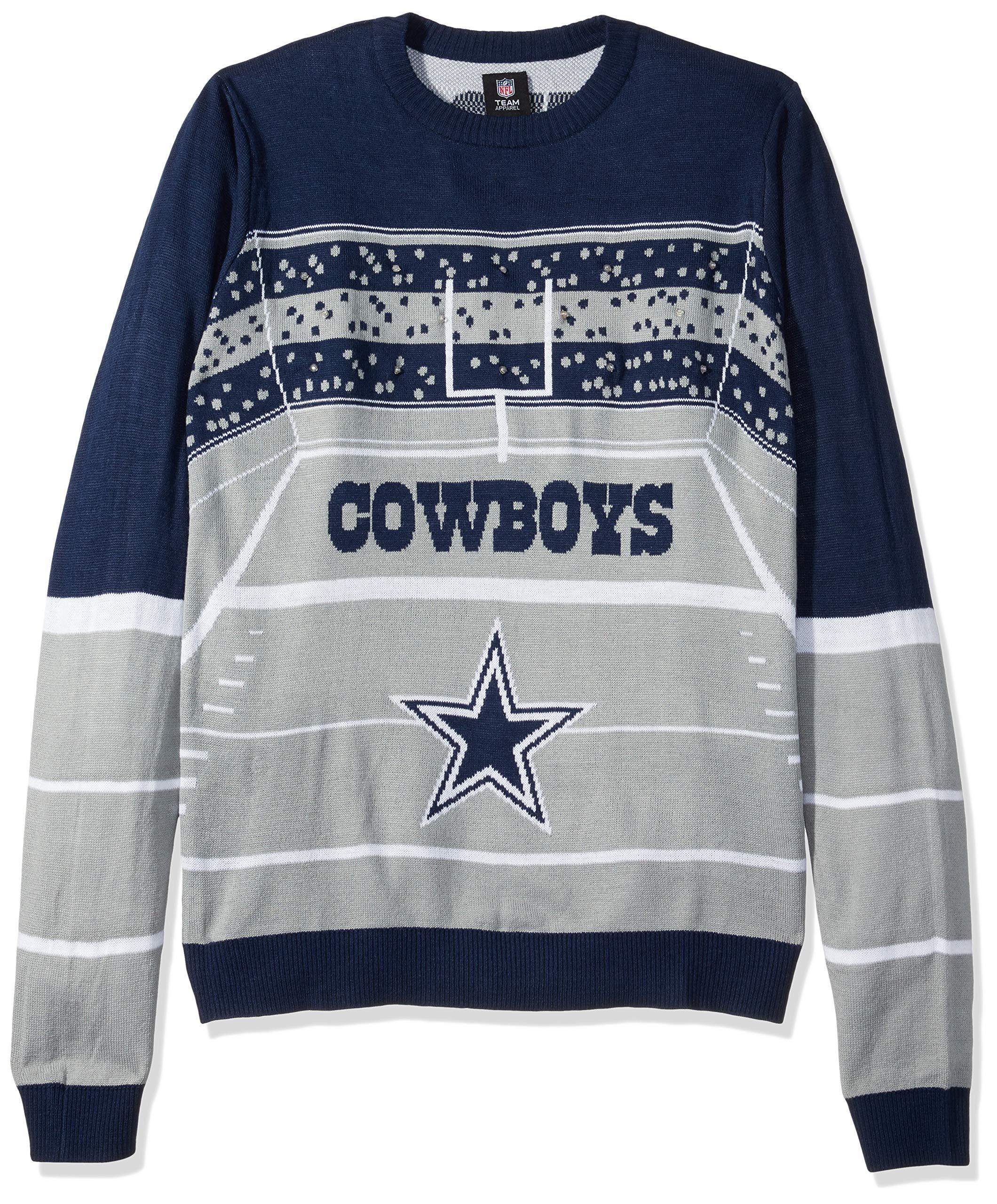 FOCO NFL Dallas Cowboys Mens Stadium Light Up Crew Neck Sweaterstadium Light Up Crew Neck Sweater, Team Color, Large