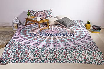 Lakshmi Handgefertigt Queen Mandala Tagesdecke Bettwäsche
