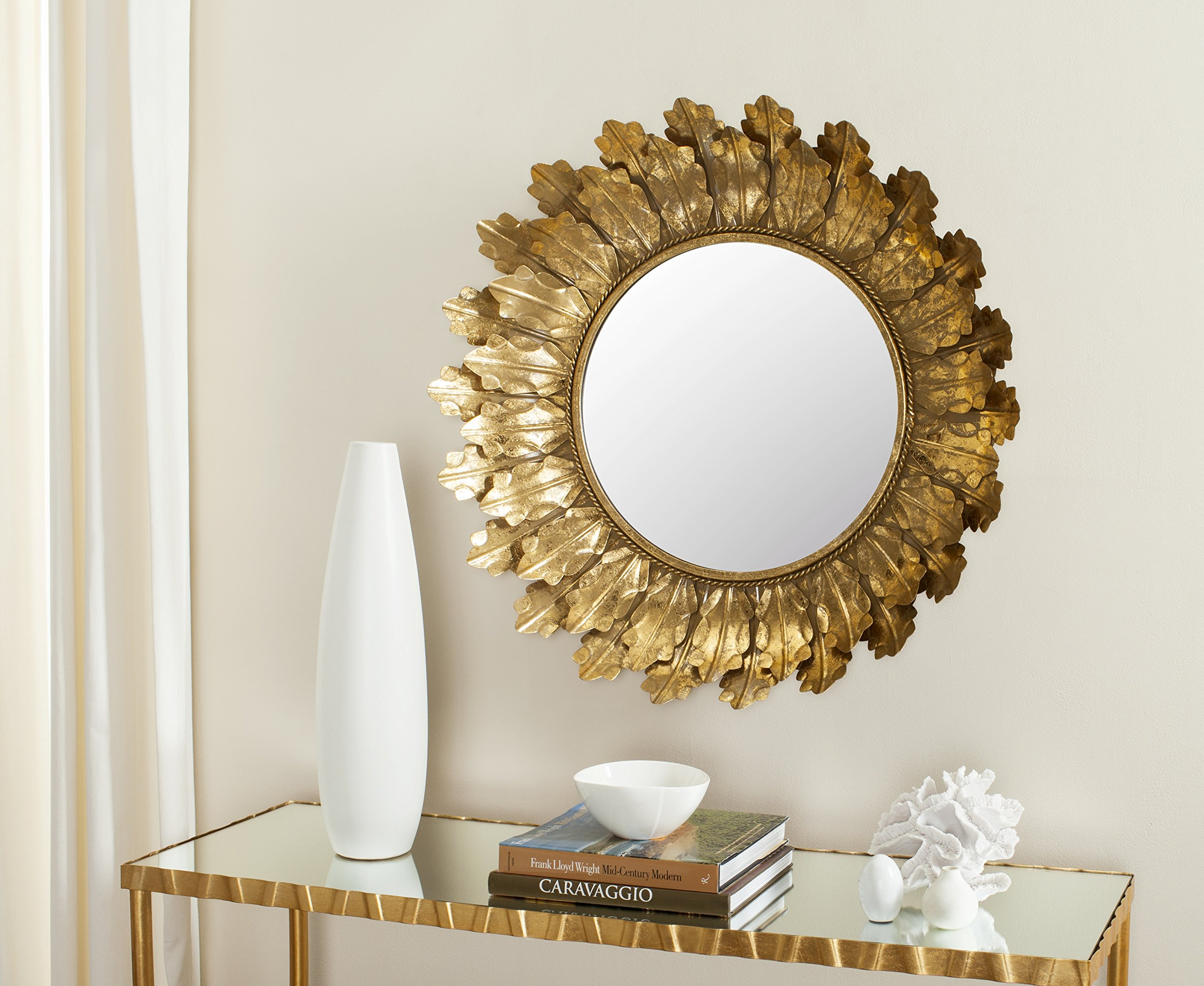 Safavieh MIR4082A Not Applicable Home Collection Paradox Gold Leaf Mirror