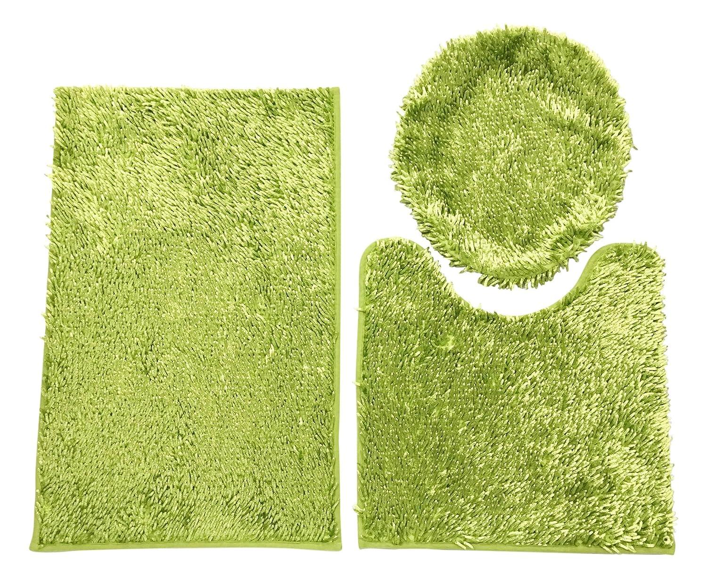 Editex Home Curtain Shaggy 3PCS Bath Rug Set 18' x 28'/18' x 18'/18' x 19' Green