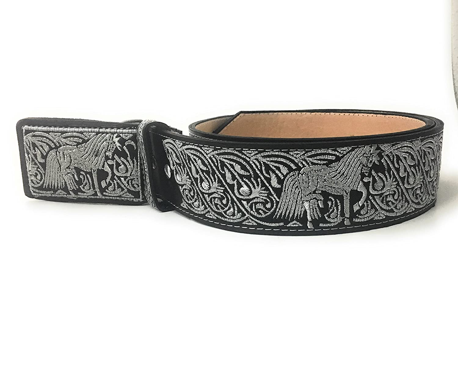 CINTO CHARRO BORDADO. WESTERN BELT. CINTURON VAQUERO PITIADO at Amazon  Men s Clothing store  a9f41ce6de2b
