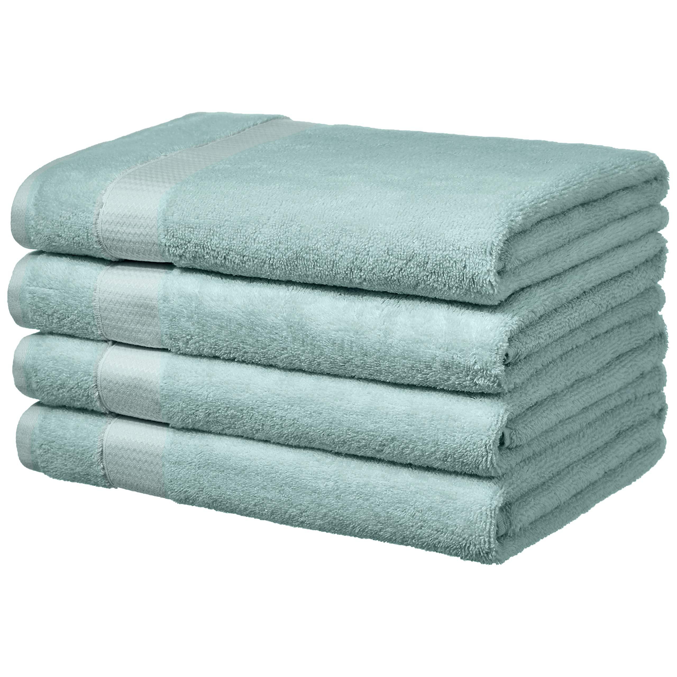 AmazonBasics Everyday Bath Towels - 4-Pack, Calm Blue