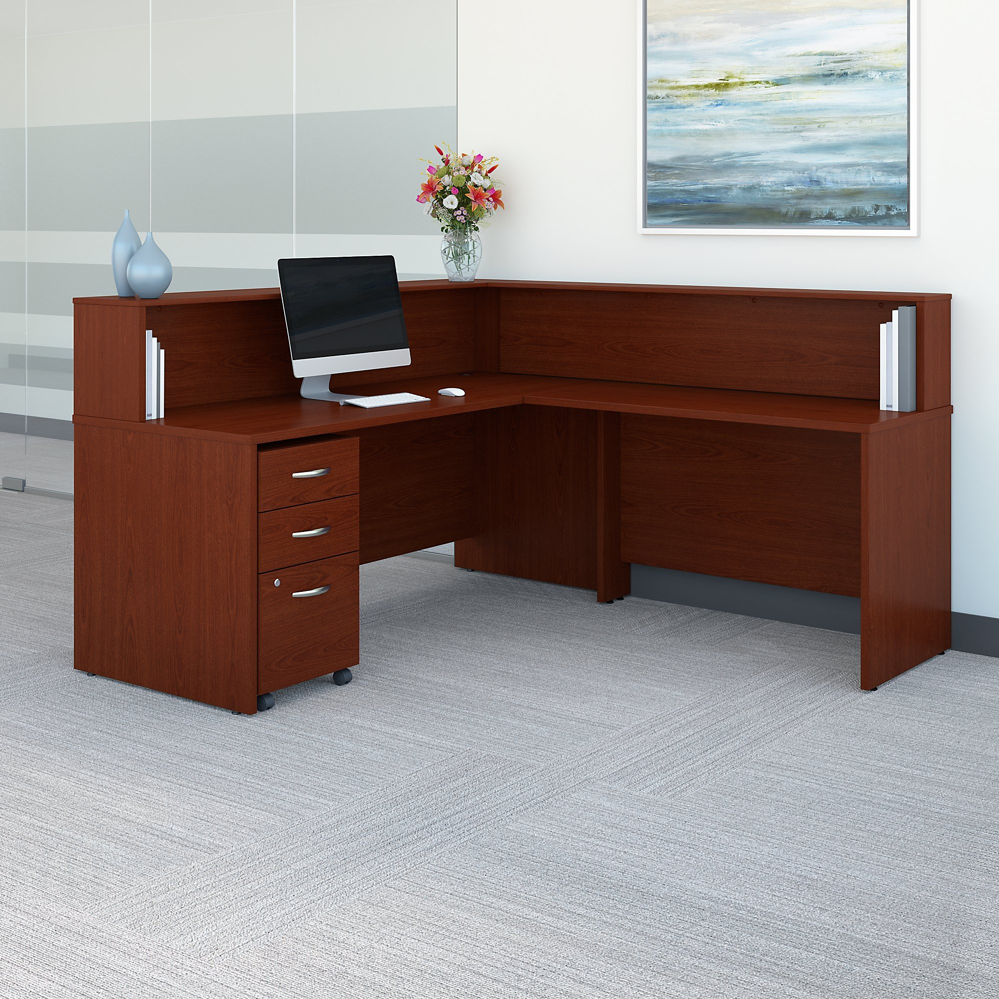 Bush Business Furniture Series C L Shaped Reception Desk with Mobile File Cabinet in Mahogany by Bush Business Furniture (Image #2)