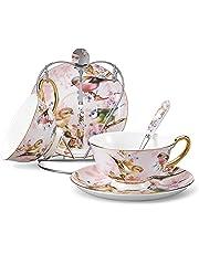 Panbado Service à Café Thé Porcelaine Anglais, Tasses à Thé Porcelaine à la Cendre d'Os 200ml avec Soucoupe Cuillère Porte-Tasse Bone China pour 2 Personnes