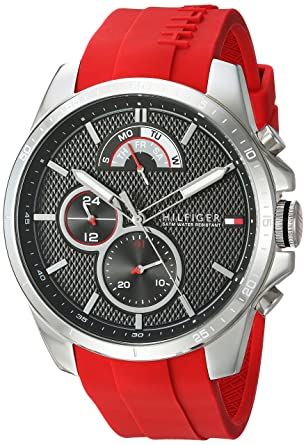 7d4bd6f3 Amazon.com: Tommy Hilfiger Men's Cool Sport Stainless Steel Quartz Watch  with Silicone Strap, red, 22 (Model: 1791351): Watches