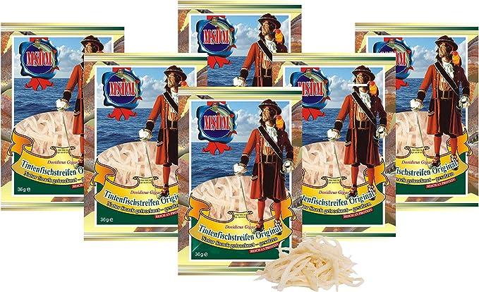 Tiras de calamar - Original (6 x 36g) Bocado Natural Bajo en carbohidratos comida de fitness snack, Bocadillo seca Aperitivos de proteína omega 3 para ...