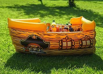 Enfriador de bebidas hinchable de Kenley, barco pirata flotante, suministros y decoraciones para playa