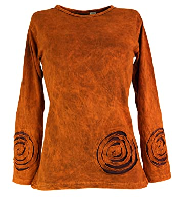Guru-Shop Langarmshirt Spirale, Damen, Orange, Baumwolle, Size:M (
