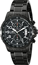 Invicta Men's Specialty 45mm Black Stainless Steel Chronograph Quartz Watch, Black