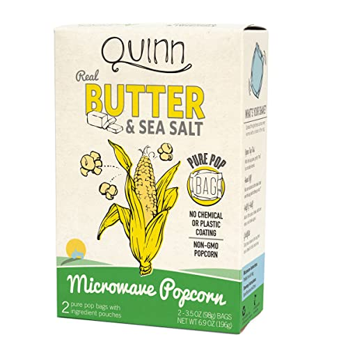 Quinn Snacks Microwave Popcorn - Made with Organic Non-GMO Corn - Great Snack Food for Movie Night {Butter & Sea Salt, 1 Box}