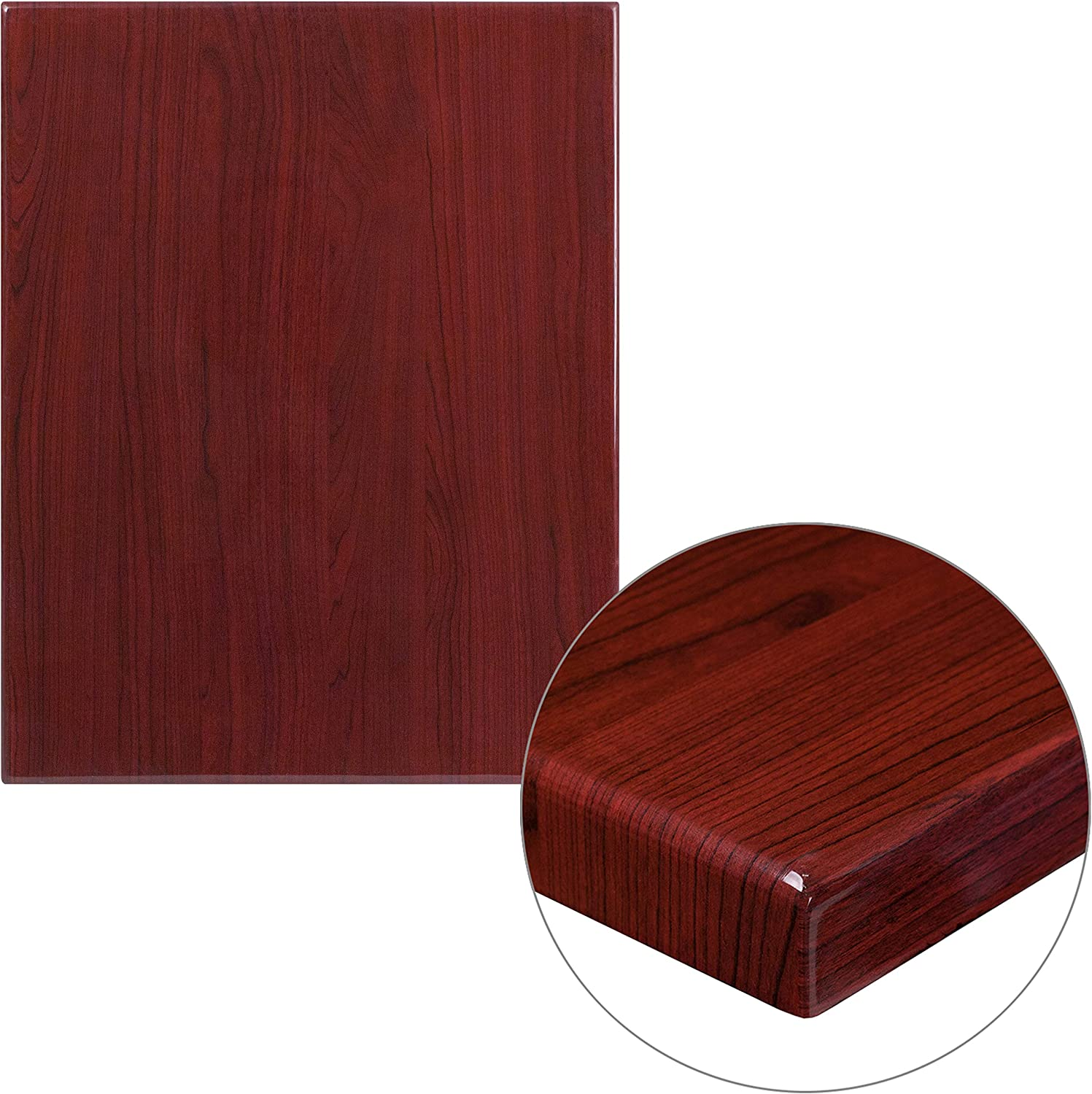 "Flash Furniture 24"" x 30"" Rectangular High-Gloss Mahogany Resin Table Top with 2"" Thick Edge"