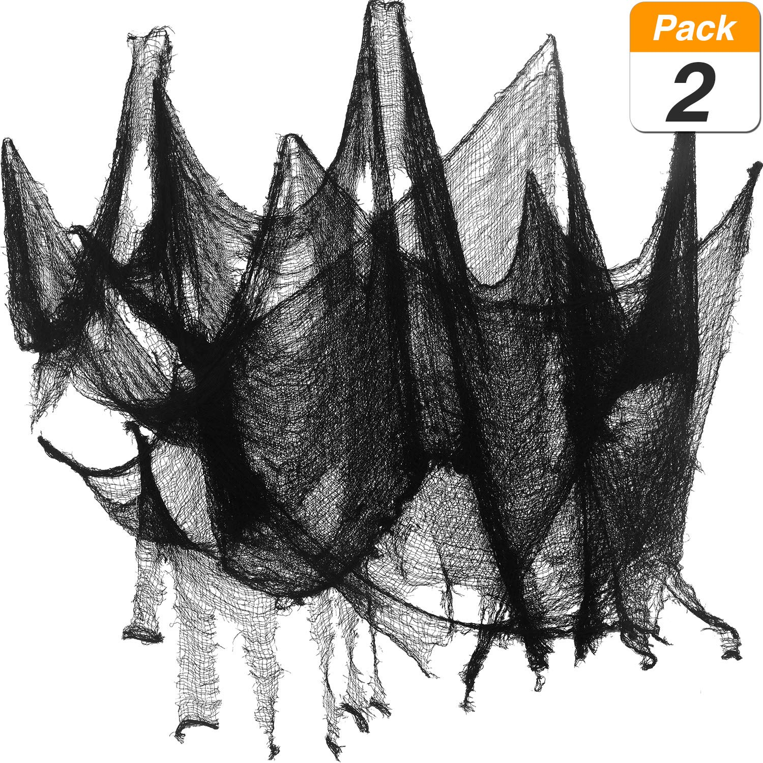 Jovitec 2 Pack Creepy Cloth Halloween Polyester Decorations Size Scary Spooky Cloth Halloween Party Supplies (8 Yards x 30 Inch, Black)